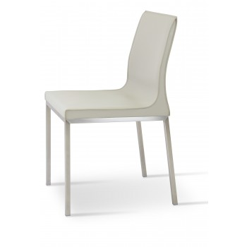 Polo Chrome Dining Chair, Bone Bonded Leather by SohoConcept Furniture