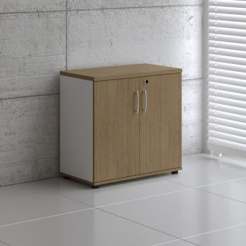 Basic K2104 2-Door Storage, White + Canadian Oak