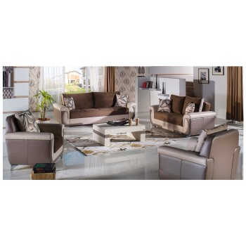 Lima S 3-Piece Living Room Set, Best Brown