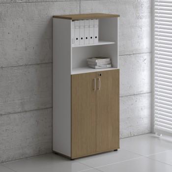 Basic K5304 2-Door Storage, White + Canadian Oak