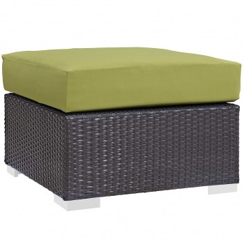 Convene Outdoor Patio Fabric Square Ottoman, Espresso, Peridot by Modway