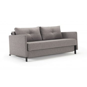 Cubed Deluxe Full Size Sofa Bed w/Arms, 521 Mixed Dance Grey Fabric