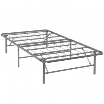 Horizon Twin Stainless Steel Bed Frame, Silver by Modway