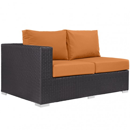 Convene Patio Left Arm Loveseat, Orange photo