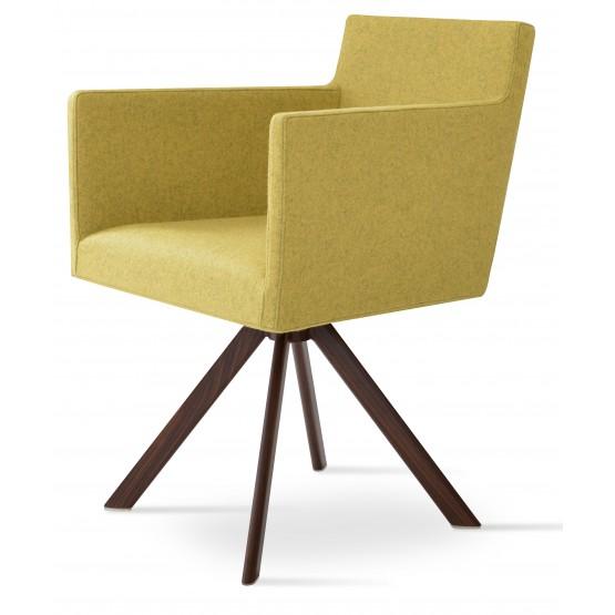 Harput Sword Arm Chair, Walnut Veneer Steel, Amber Camira Wool photo
