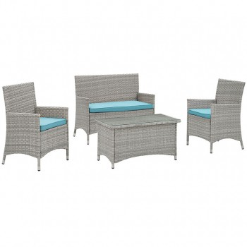 Bridge 4 Piece Outdoor Patio Patio Conversation Set, Light Gray, Turquoise by Modway