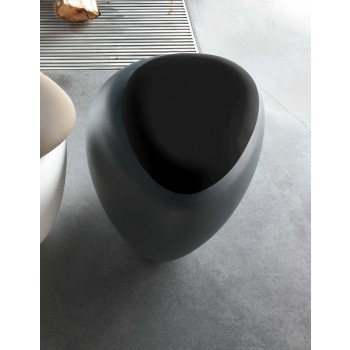 Ios Pouf, Anthracite Polyethylene Base, Black Orchidea Fabric