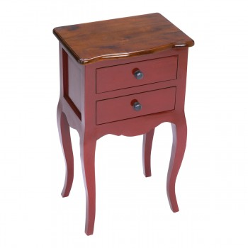 Amador Side Table In Red With Light Brown Top