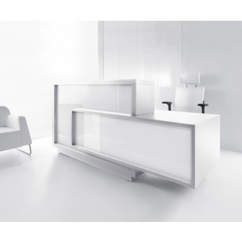 FORO LF10 Reception Desk, High Gloss White