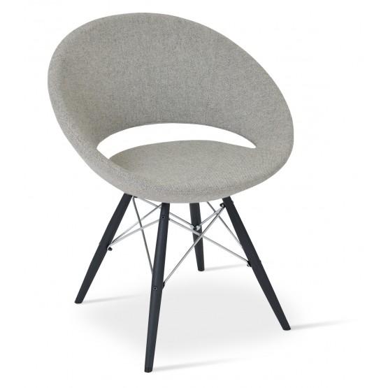 Crescent MW Chair, Black Powder, Grey & Cream Camira Wool, Large Seat photo