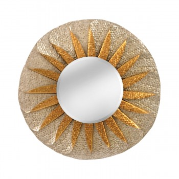 Minako Rolled Wave Mirror In Antique Silver And Champagne