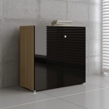 Mito 2-Door Storage MIT21, Light Sycamore + Black High Gloss