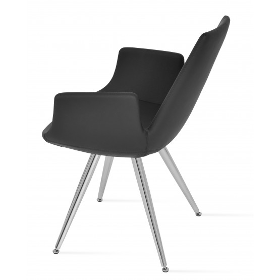 Eiffel Arm Star Chair, Stainless Steel, Black PPM, Adjustable Foot Caps photo