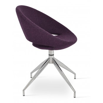 Crescent Spider Swivel Chair, Deep Maroon Camira Wool, Large Seat by SohoConcept Furniture