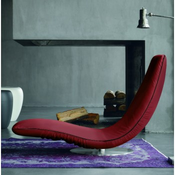 Ricciolo Chaise Lounge, Burgundy Red Eco-Leather