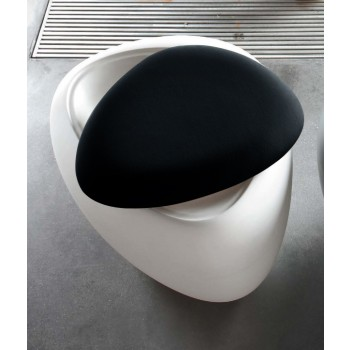 Ios Pouf, White Polyethylene Base, Black Orchidea Fabric