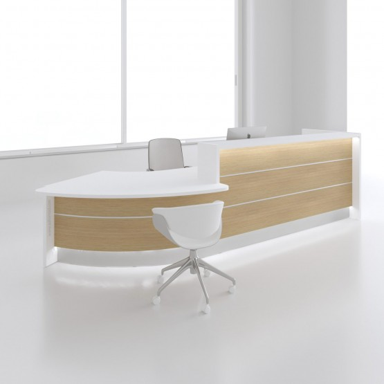Valde LAV94L Reception Desk, Canadian Oak photo
