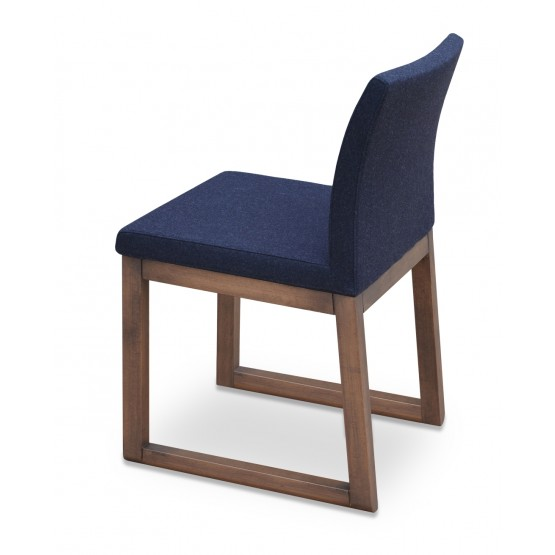 Aria Sled Wood Dining Chair, Solid Beech Walnut Finish, Charcoal Wool photo