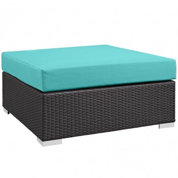 Convene Outdoor Patio Large Square Ottoman, Espresso, Turquoise by Modway