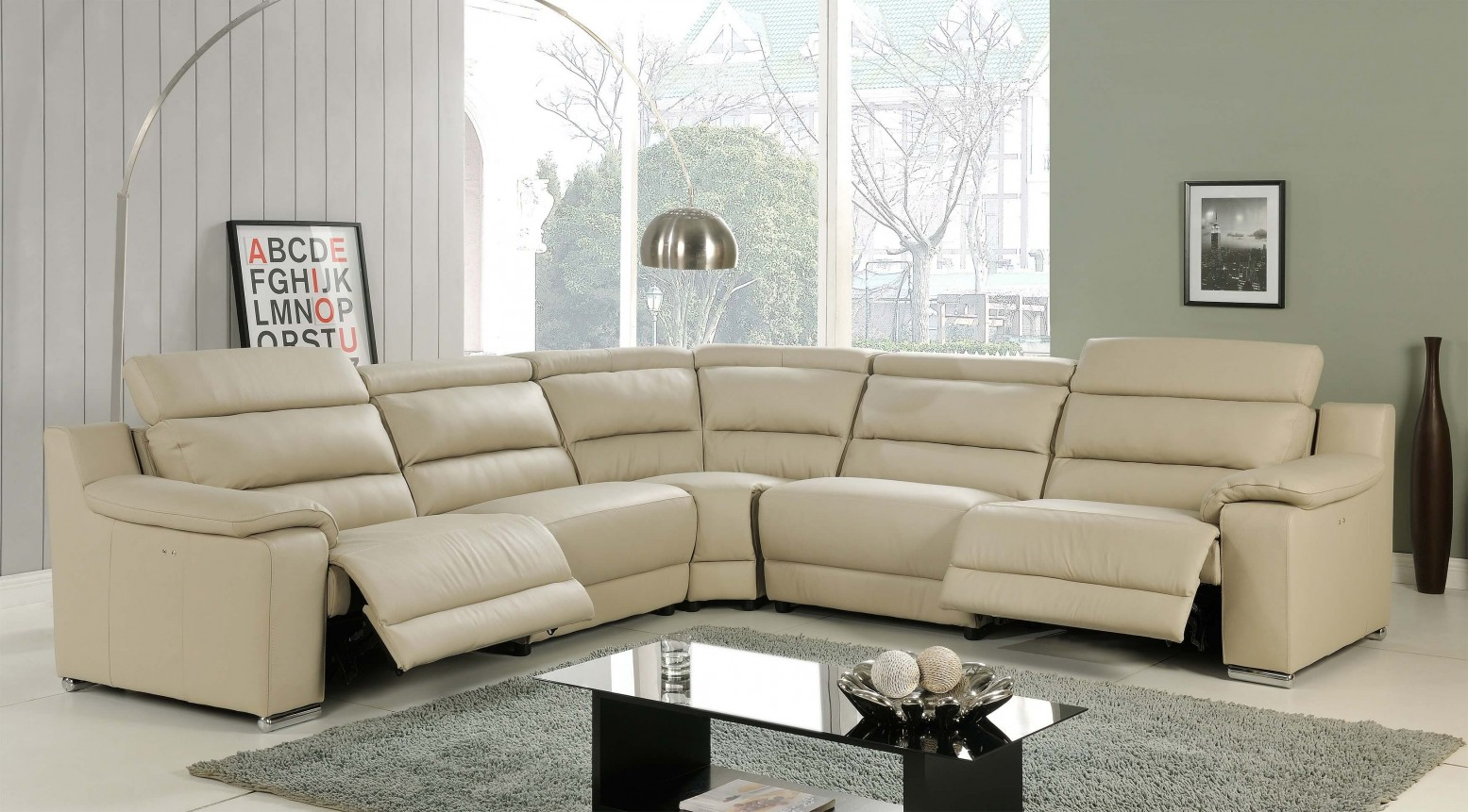 Picture of: Elda Reclining Sectional Sofa Beige Buy Online At Best Price