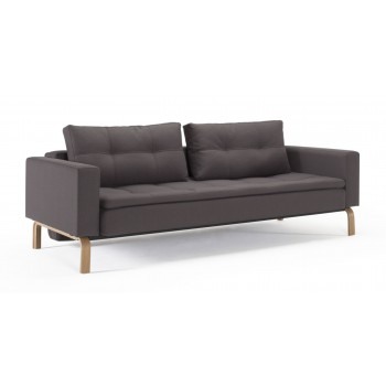 Dual Sofa Bed w/Arms, 555T Soft Grey Fabric + Oak Legs