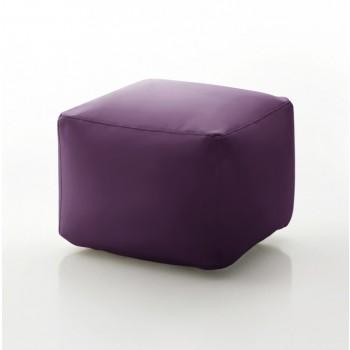 Truly Small Pouf, Aubergine Purple Eco-Leather