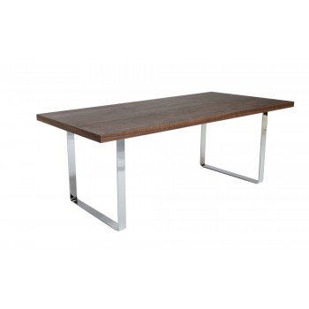 Bosphorus Dining Table, Medium, Chrome, Walnut by SohoConcept Furniture
