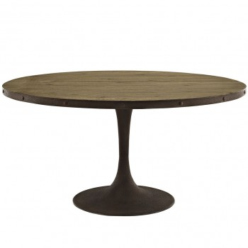 "Drive 60"" Round Wood Top Dining Table, Brown by Modway"