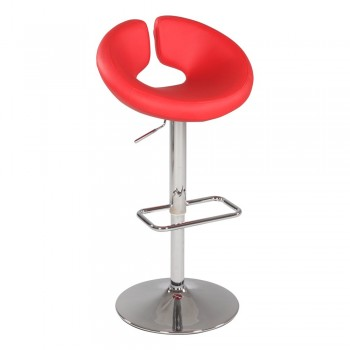 0632 Pneumatic Gas Lift Swivel Height Stool, Red by Chintaly Imports
