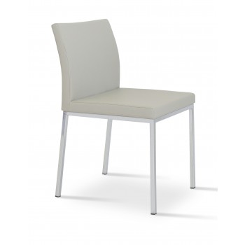 Aria Dininng Chair, Stainless Steel Base, Light Grey Leatherette  by SohoConcept Furniture