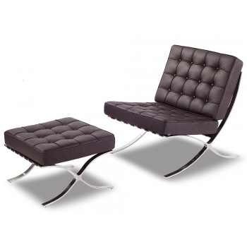 WRS F04 Lounge Chair + Ottoman, Brown