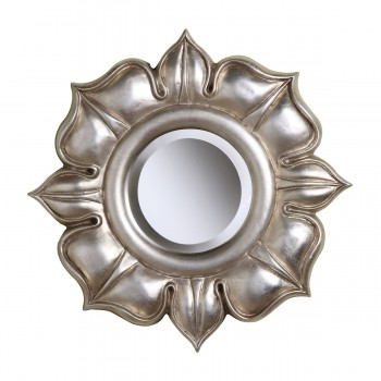Lotus Mirror In Bright Silver Leaf