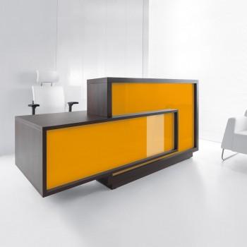 FORO LF11 Reception Desk, High Gloss Orange + Chestnut