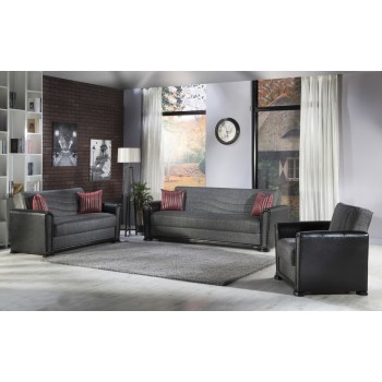 Alfa 3-Piece Living Room Set, Redeyef Fume