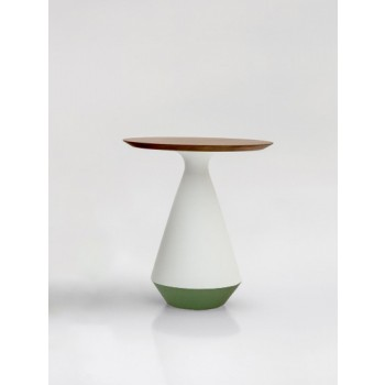 Amira Side Table, Matt White and Green Sage Ceramic Base, Canaletto Walnut Wood Top