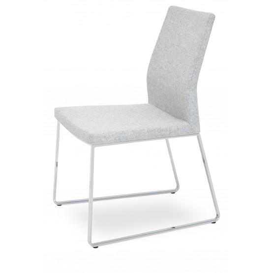 Pasha Sled Dining Chair, Chrome, Silver Camira Wool photo