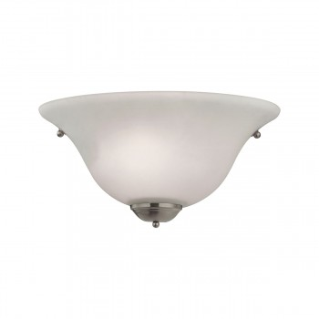 1 Light Wall Sconce Lamp in Brushed Nickel and White Glass 7