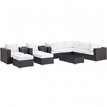 Convene 10 Piece Outdoor Patio Sectional Set, Espresso, White by Modway