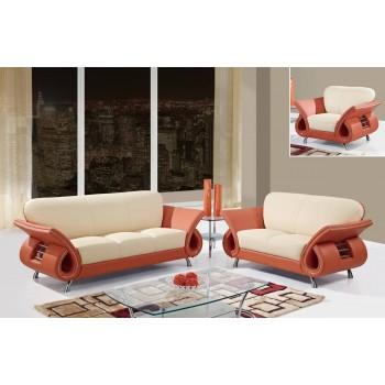 U559 3-Piece Living Room Set, Beige + Orange