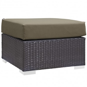 Convene Outdoor Patio Fabric Square Ottoman, Espresso, Mocha by Modway