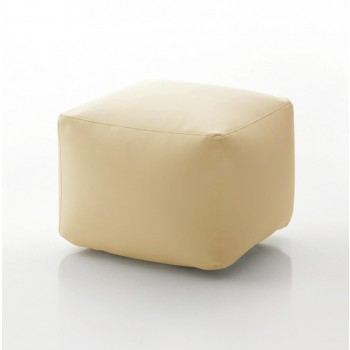 Truly Small Pouf, Cream Eco-Leather