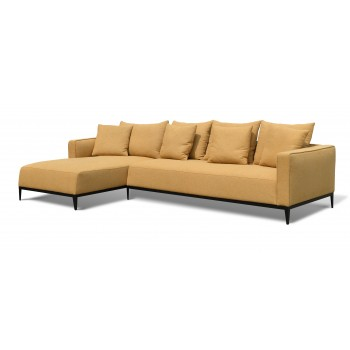 California Sectional, Large, Left Arm Chaise, Black Base, Mustard Camira Wool by SohoConcept Furniture