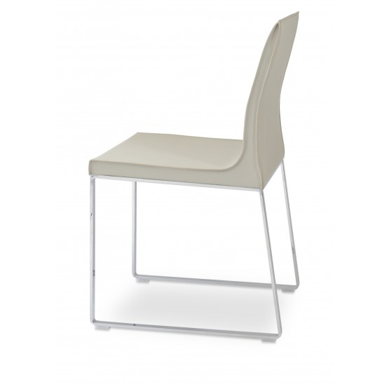 Polo Sled Dining Chair, Chrome, Bone Bonded Leather photo