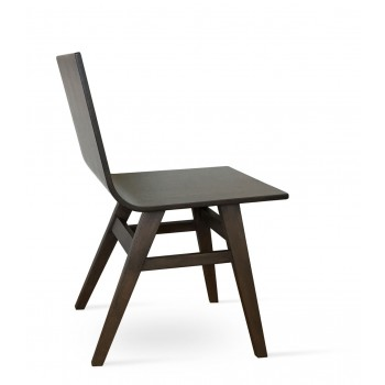 Melis Wood Dining Chair, Solid Beech Walnut Finish, Wenge Finish Plywood Seat by SohoConcept Furniture