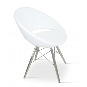 Crescent MW Chair, Stainless Steel, White PPM by SohoConcept Furniture