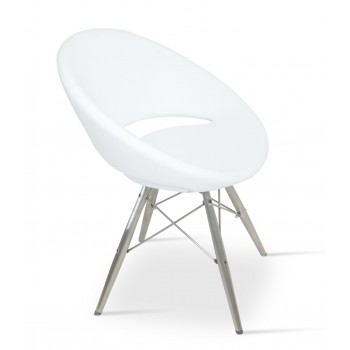 Crescent MW Chair, Stainless Steel, White PPM, Large Seat by SohoConcept Furniture