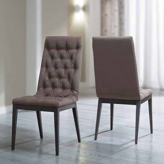 Platinum Capitonne Dining Chair, Brown Nabuk photo