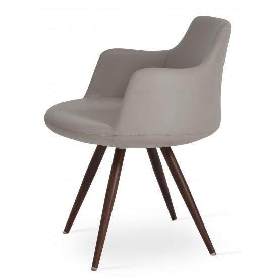 Dervish Star Chair, Walnut Veneer Steel, Bone Leatherette photo