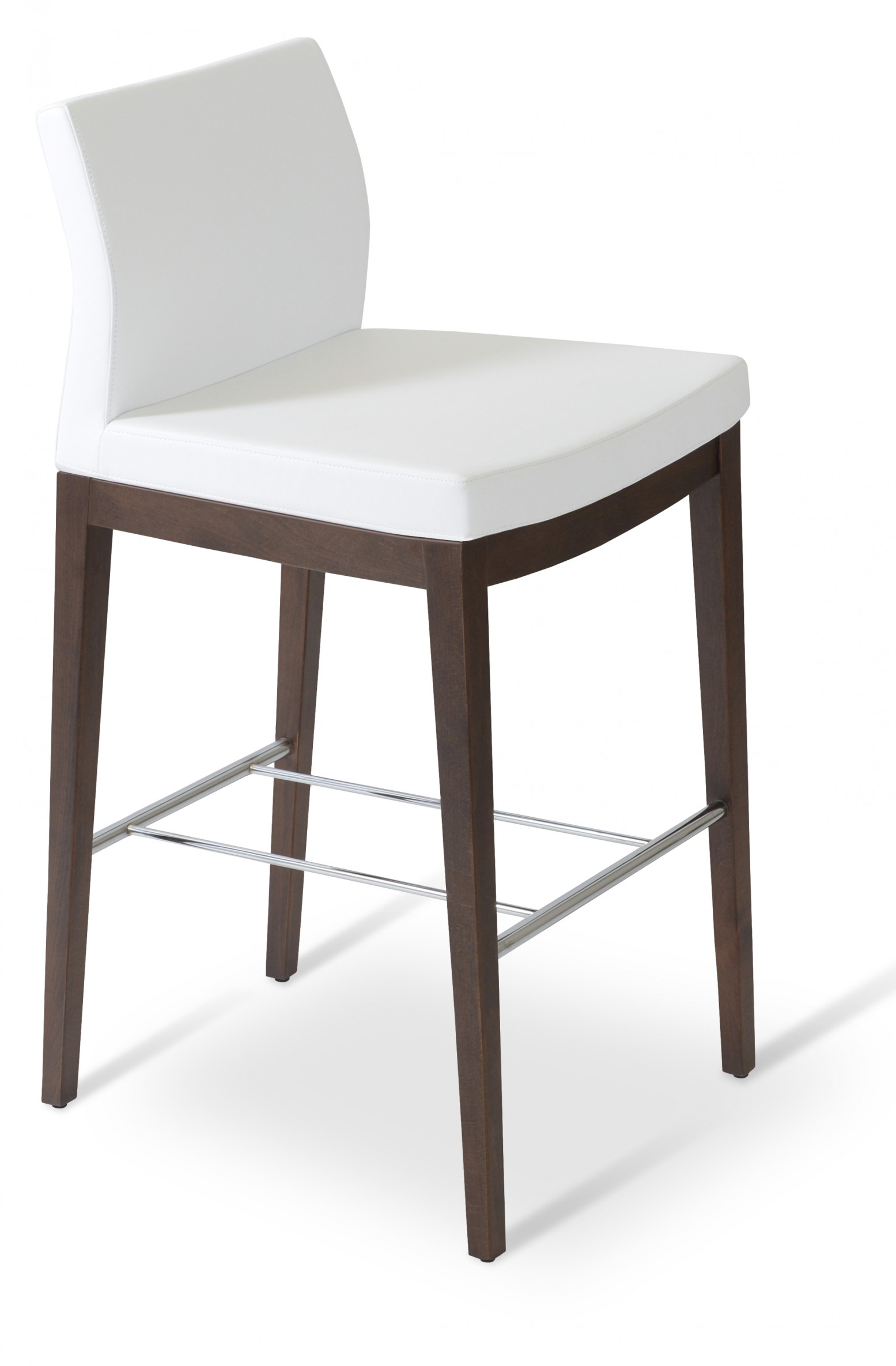Picture of: Pasha Wood Bar Stool Solid Beech Walnut Color White Leatherette Low Back Set Of 4 By Sohoconcept Furniture