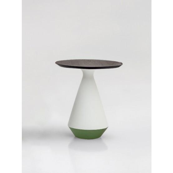 Amira Side Table, Matt White and Green Sage Ceramic Base, Heat-Treated Dark Oak Wood Top photo